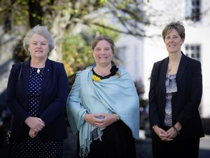The three wedding celebrants from Alderney who were sworn in at the Royal Court, left to right, Lisa Sanders, Helen Martin and Annabel Finding. (Picture by Peter Frankland, 29455380)