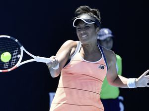 Heather Watson at the 2021 Australian Open tennis championships in Melbourne. (Andy Brownbill/AP). (29238722)