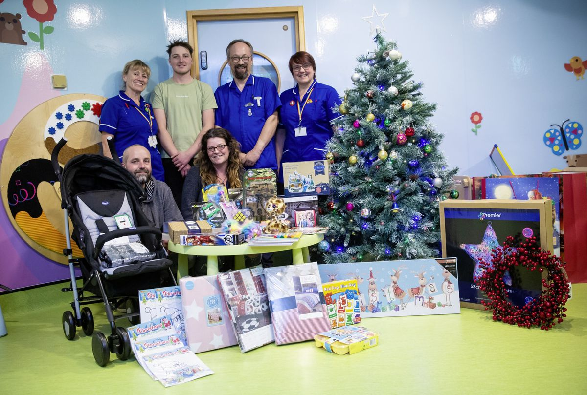 The Helping Jonah – Helping Others charity has presented gifts to Frossard Ward at the PEH. Left to right, front, are Geoff and Sonia Gillingham, back, left to right, senior staff nurse Allie Winterton, Jonah Gillingham and staff nurses Jonathan Spencer and Carolyn Morley. (Picture by Cassidy Jones, 28948935)
