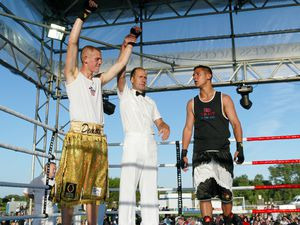 And the winner is...Gage Demore celebrates his points win over Daniel Craven in the big Open Boxing Show of 2010. Ben Duff insists the former national champion has a high level of fitness despite being out of the ring for so long.
