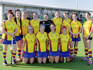 Colombian Puffins celebrate winning the Alliance Women's League at Footes Lane. Back, left to right: Dawn Barber, Nicole Hewlett, Ellie Regnard, Ellie Knowelden, Emma Atkinson, Ruby Swaisland, Phoebe Crook, Emma Curtis and Izzy Roussel. Front: Liza Sayer, Lucy Waldrom, Kelley Cameron, Laura Webber. (Pictures by Andrew Le Poidevin, 23968110)