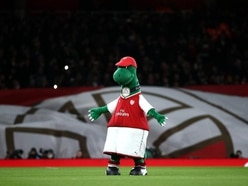 Arsenal mascot Gunnersaurus hit in the face by penalty from young fan