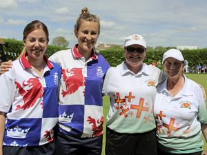 Bowls - Atlantic Championships 2019 in Cardiff. Women's pairs semi-final – left to right, Rebecca Wigfield, Natalie Chestney (England) Rose Ogier and Lucy Beere (Guernsey), 22-05-19.