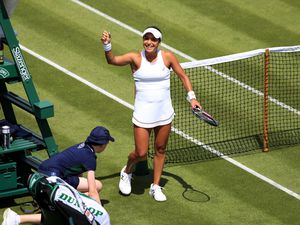 Heather Watson celebrates winning her match on day one of the Wimbledon Championships at the All England Lawn Tennis and Croquet Club, London. PRESS ASSOCIATION Photo. Picture date: Monday July 1, 2019. Photo credit should read: Adam Davy/PA Wire. RESTRICTIONS: Editorial use only. No commercial use without prior written consent of the AELTC. Still image use only - no moving images to emulate broadcast. No superimposing or removal of sponsor/ad logos.            