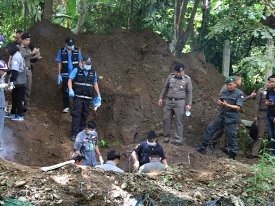 Police find buried bodies of murdered Briton and Thai wife