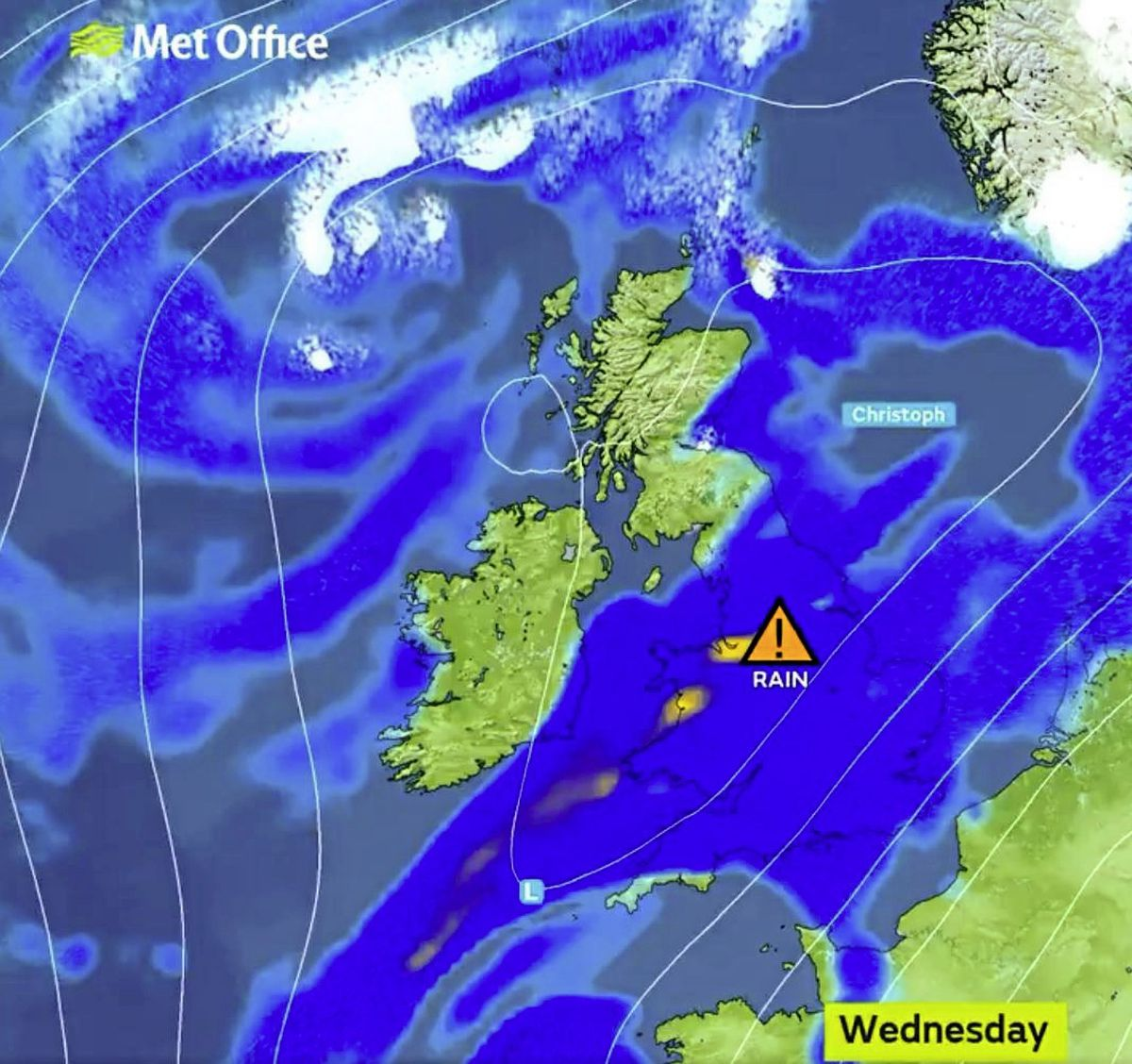 Storm Christoph has been named by the UK Met Office. Guernsey is forecast to be on the edge of the wet and windy weather. (29126980)