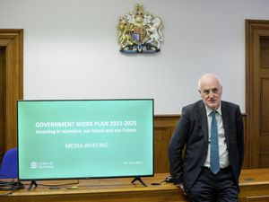 Policy & Resources president Deputy Peter Ferbrache at the presentation of the Government Work Plan. (Picture by Peter Frankland, 29664791)