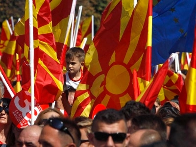Macedonians out on streets to back name change that could pave way to joining EU