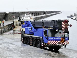 A temporary crane arrived in Alderney from Jersey at the weekend. It might now be staying for longer than originally planned. Picture by David Nash. (29761058)