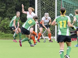 Above: Tasha Symes (No. 5) shoots for Guernsey at a short corner. (Picture by Peter Carey, 19539960)