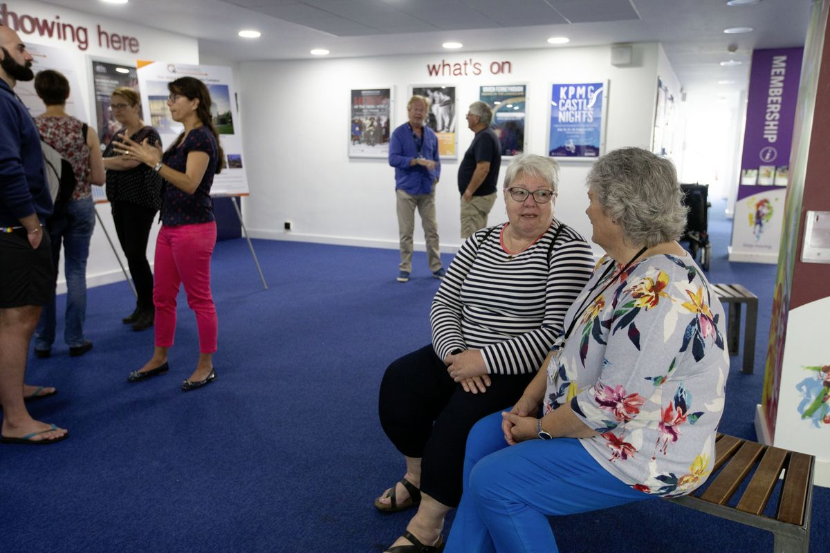 Diane Mitchell, left, a former education director in Portsmouth and Bournemouth tells ESC member Deputy Sue Aldwell she likes its plans. (29723609)