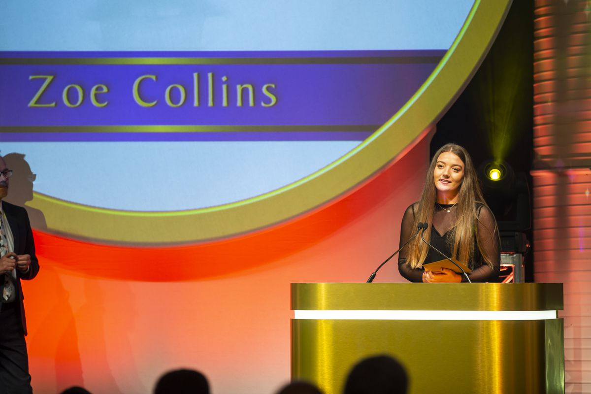 Zoe Collins during her acceptance speech after being named Young Achiever of the Year at the 2020 Pride of Guernsey Awards. The award is this year once again sponsored by St Pierre Park Hotel, Spa and Golf Resort. (Picture by Sophie Rabey, 29832701)