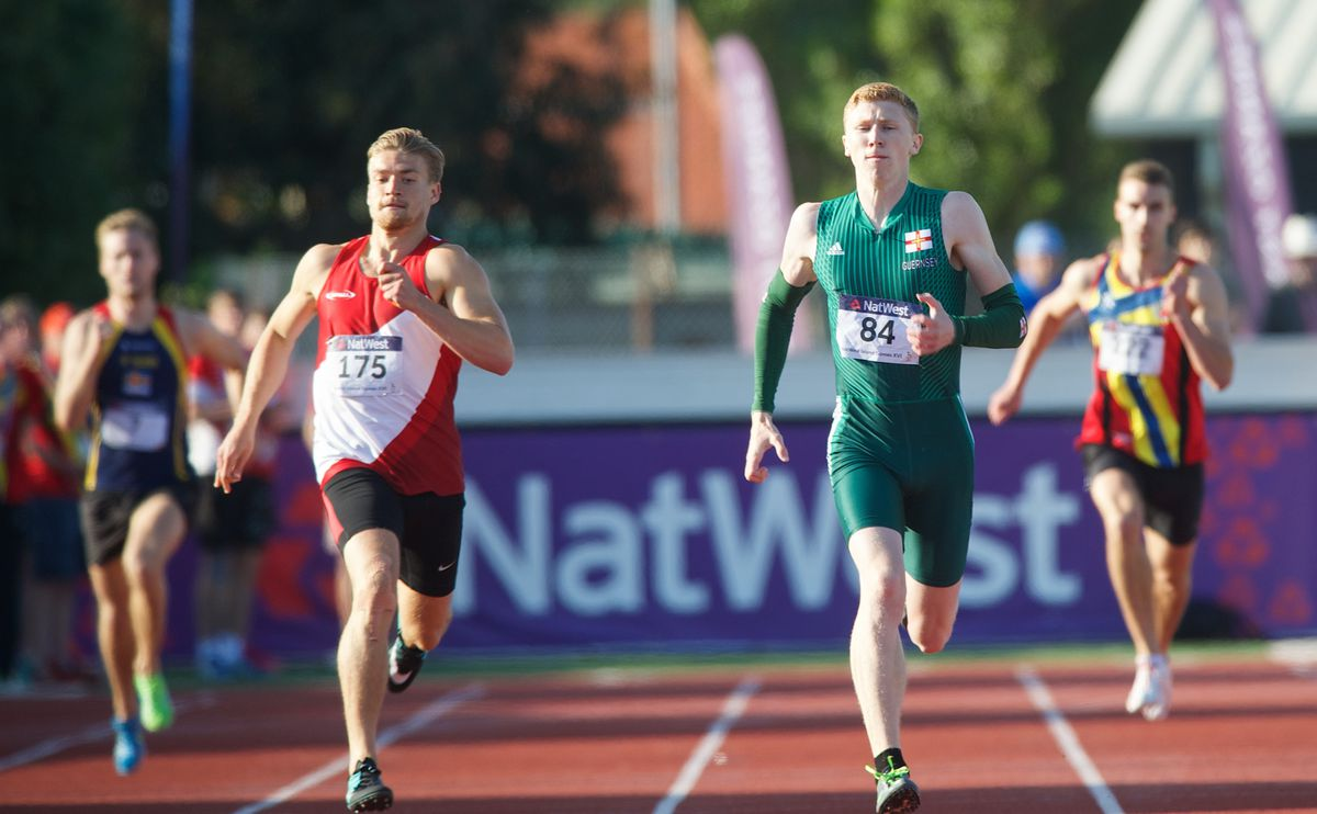 Cam Chalmers in the 400m final of the Jersey 2015 Island Games. (Picture by Jon Guegan, 26948175)