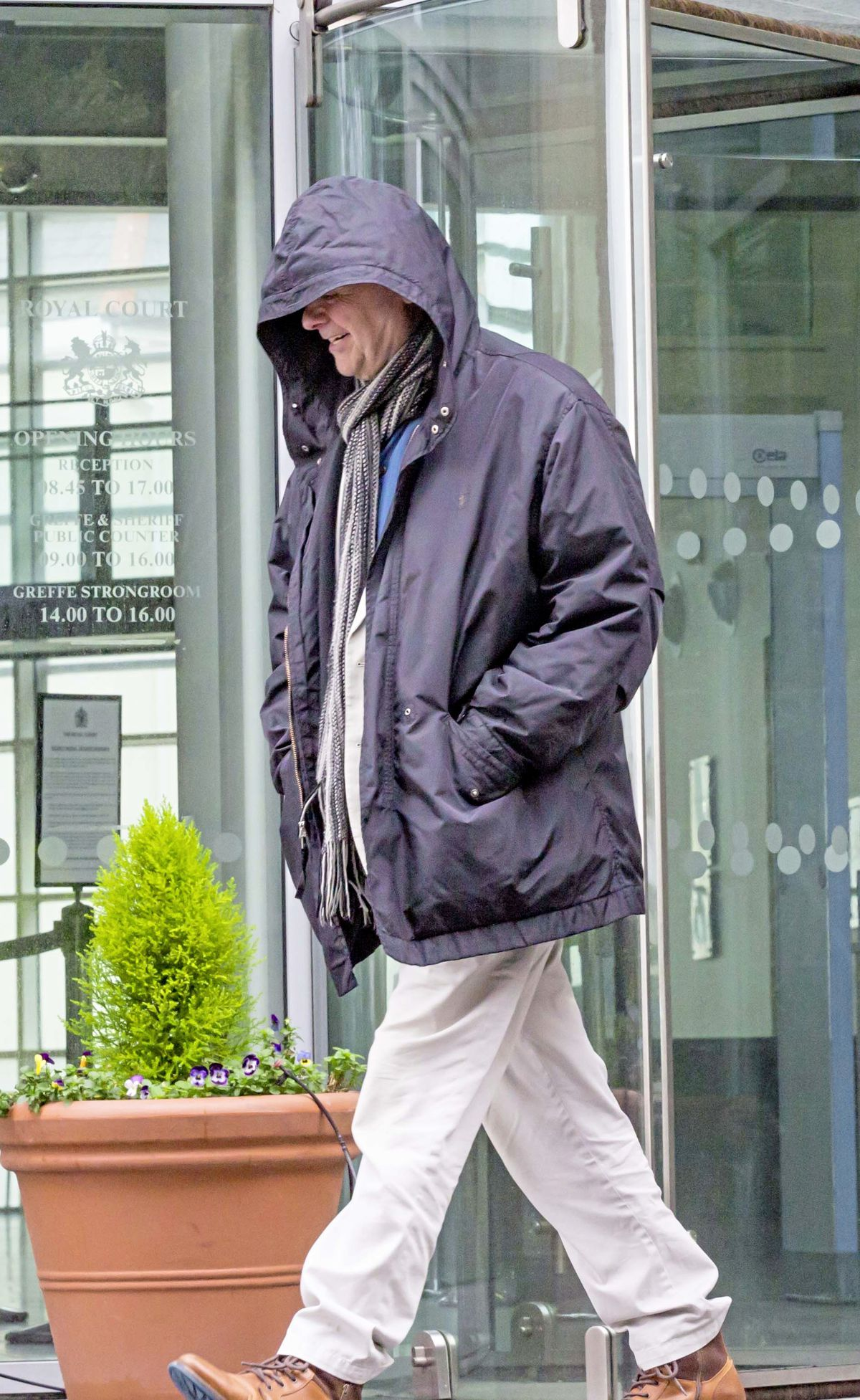 Paul Alan Bettie, 65, leaving the Royal Court yesterday after he was found guilty of money laundering. He has been granted bail, pending a probation report.