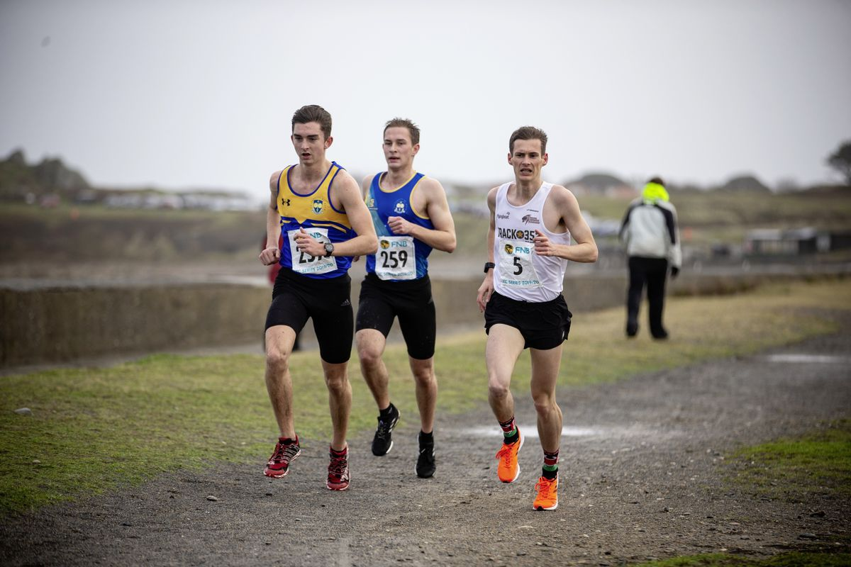 Eventual race winner Alex Rowe, left, in the lead group along with Dan Galpin and Sam Lesley, right. (Picture by Peter Frankland, 26762000)