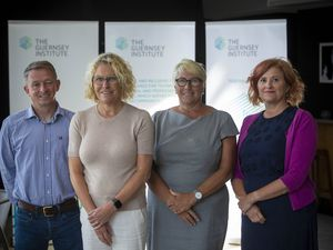The executive team of the Guernsey Institute, left to right, Simon Le Tocq, GTA University Centre, Tracey McClean, Institute of Health and Social Care Studies, Jacki Hughes, executive principal of the institute, and Louise Misselke, Guernsey College of FE. (Picture by Peter Frankland, 29239898)