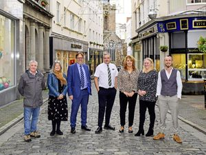 Photo Caption, L to R:Russ Fossey, Fiona Copeland, Ian Mc Laughlin, Shaun Mechem, Wendy Salmon, Emma Robins and Benjamin Mansell from the Guernsey Arts Commission, Evie and Me, Marks and Spencer, Creaseys and Paperchase.  Picture provided by the Guernsey Retail Group (28942316)