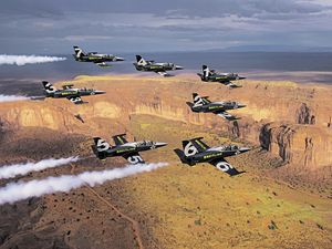 Jersey is sticking to the traditional September date for its air display and has booked the Breitling Jet Team, seen flying over Monument Valley during its American tour, to headline in place of the unavailable Red Arrows. (Picture courtesy of Breitling)