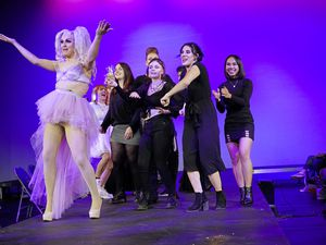The College of FE 2021 Hair Show. Diva D dancing with students from the hairdressing department. (29614157)