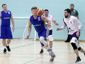 Le Mont Saint No. 12 Agris Dulbinskis eyes up the ball against Skipton last night at St Sampson's High where the Vistra Leagues resumed following their Christmas break. (Picture by Adrian Miller, 29078411)
