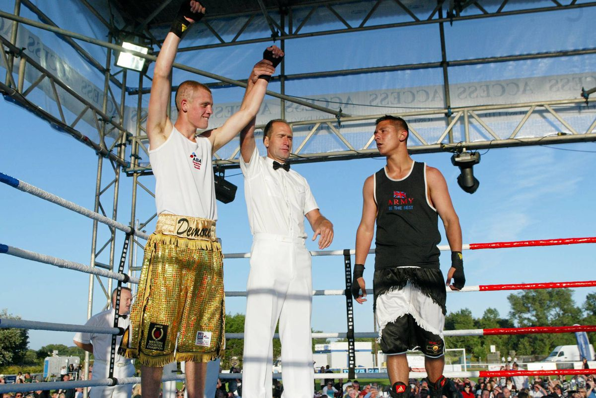 And the winner is...Gage Demore, now Baker, celebrates his points win over Daniel Craven in the big Open Boxing Show of 2010. Ben Duff insists the former national champion has a high level of fitness despite being out of the ring for so long. (25796188)
