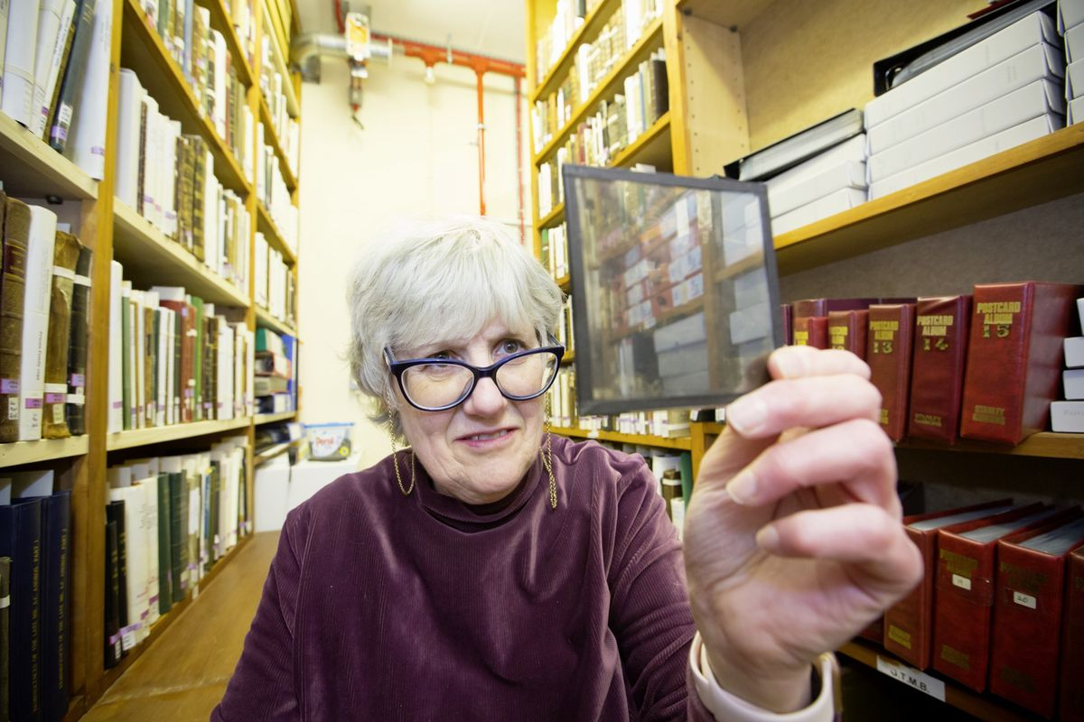 Sue Laker examining one of the many glass plate lantern slides. (29412254)