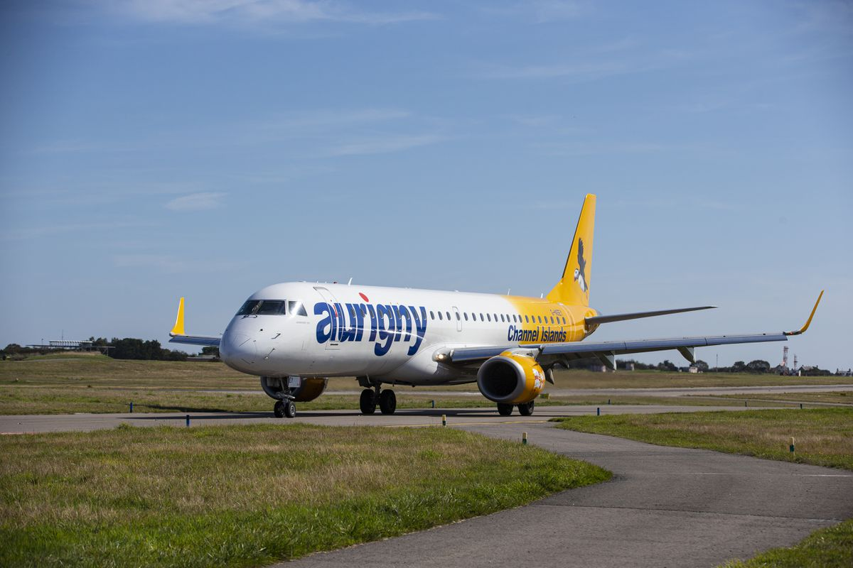 The future for Aurigny's Embraer is open to question with the airline looking at its possible uses when travel restrictions are lifted, with a strong hint from chairman Kevin George that it will not be used almost exclusively on the Gatwick service. (Picture by Peter Frankland, 29307358)