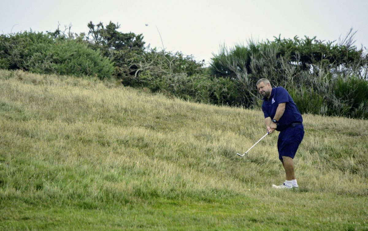 Rick Le Poidevin chipping on the 12th. (Picture by Gareth Le Prevost, 28515269)