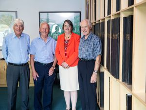 Picture By Peter Frankland. 13-08-20 L-R - Sir Geoffrey Rowland, Jurat Alan Bisson, Diane Ward and John Langlois have set up an electoral support group to try to encourage people to think about who they vote for.. (28717603)
