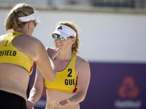 Guernsey's Jennifer Lindfield and Gemma Nicolle are playing in the beach volleyball for the first time. (Picture By Peter Frankland, 25168138)