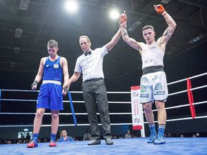 Picture By Peter Frankland. 23-02-19 Boxing Open Shw at Beau Sejour. Guernsey ABC v Home Counties. Billy Le Poulain (red) v Ben Vaughan. (23964766)