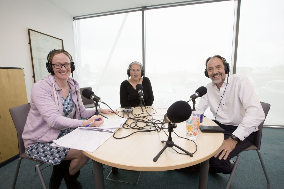 The host of the new Guernsey Press Politics Podcast Helen Bowditch with guests Constable Zoe Lihou and Deputy Steve Falla. (Picture by Adrian Miller, 29551312)