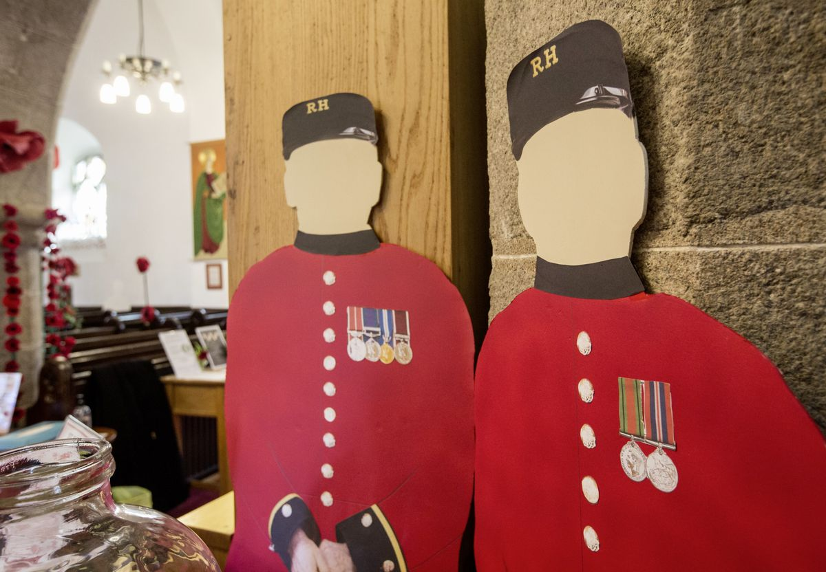 Remembrance display at the St Saviour's church including cardboard cut-outs of the Chelsea pensioners who couldn't make it this year. (Picture by Adrian Miller, 28888268)