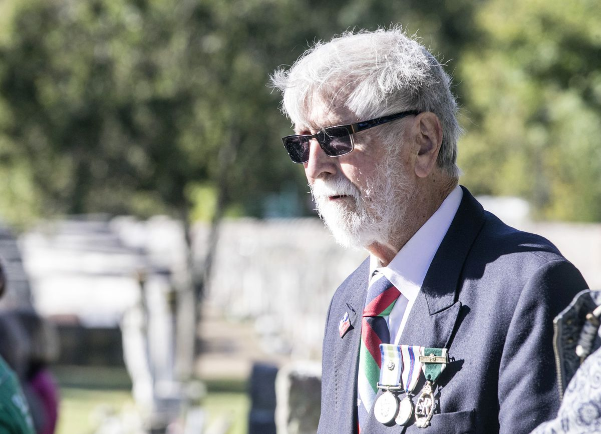 Pic by Adrian Miller 27-09-20 Foulon Cemetery. Remembrance service for H.M.S. Charybdis and H.M.S. Limbourne . Brian Salmon former president of Naval Association.. (28735073)