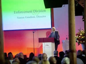 Director of the GFSC's enforcement division Simon Gaudion speaking at the regulator's event at St James. 	 (Picture by Peter Frankland, 29470357)