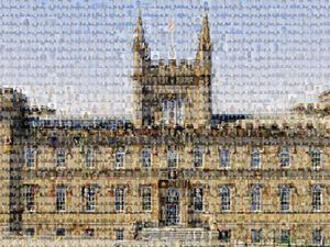More than 1,400 portraits of current and former Elizabeth College students have been turned into a photo-mosaic of the iconic building in The Grange. (Picture supplied by Elizabeth College)