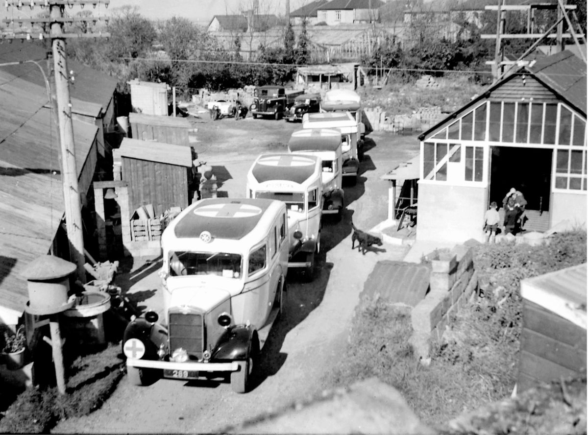 Ambulance and vehicles in 1942. (Picture copyright of Gary Blanchford )