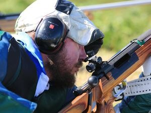 Pic by Adrian Miller 20-08-20 Fort Le Marchant shooting - Mike Creber contemplates his next shot. (29481693)