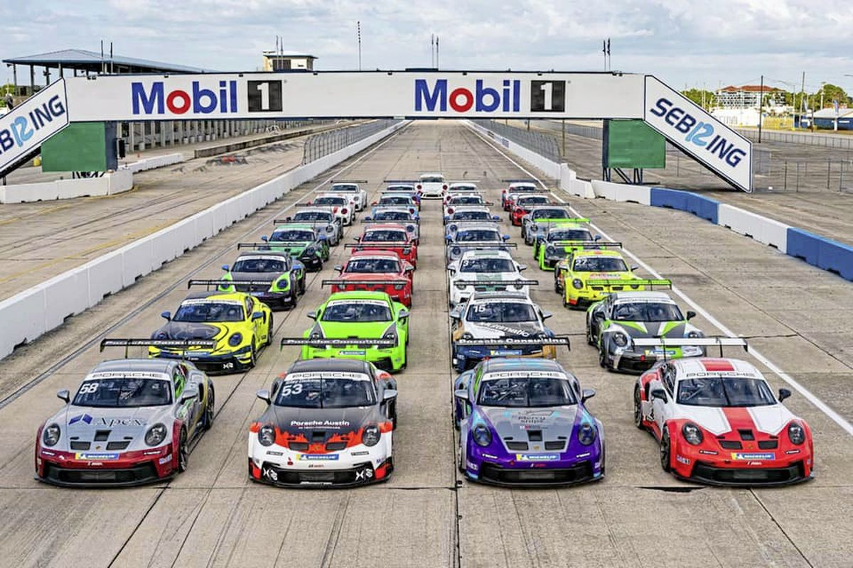 Class of 2021 Porsche Carrera Cup North America. Seb Priaulx's Kelly-Moss Racing car is No. 15 (second from right of second row). Picture from Porsche 11-03-21 (29323287)