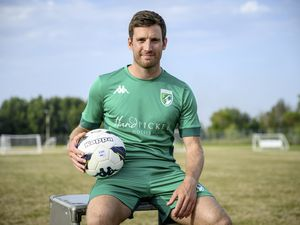 Star striker Ross Allen models the new slick all-green Guernsey FC home kit for the new season – whenever that takes off competitively for the Green Lions. (Picture supplied by Guernsey FC, 28580727)