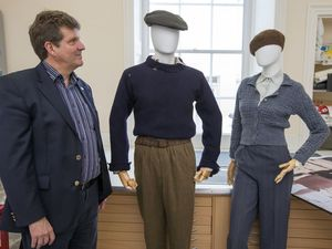 Picture By Steve Sarre 26-03-18.Candie Museum - props from the Guernsey Literary and Potato Peel Pie Society film are going on display at the museum.WIth jason monaghan. (21037610)