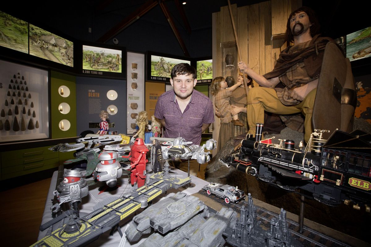 Daniel Phillips-Smith with his collection of science-fiction models. (28734597)
