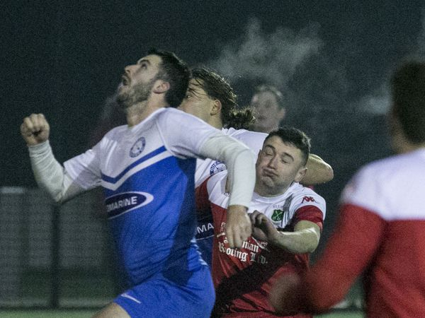 Building up a head of steam: FNB Priaulx League title candidates Sylvans and Rovers are scheduled to meet again on 27 March, but under phase two guidelines the westerners' Oscar Leadbeater, pictured challenging Blair Howitt, cannot train or play with local restrictions on U18s sport.