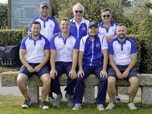 Nedgroup Trust Limited Scratch League final golf at L'Ancresse. Royals v Martellos, 20-09-20. Martellos team. Back row, left to right: Jamie Blondel, Alan Mahy (L'Ancresse GC captain), Arthur Evans. Front: Sean Mills, Danny Bisson, Steve Mahy and Tom Pattimore..Picture by Gareth Le Prevost. (28708789)