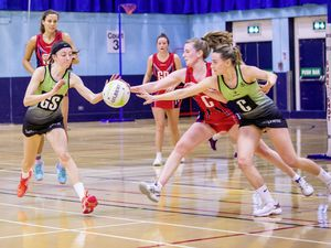 Picture by Sophie Rabey.  02-02-20.  Netball at Beau Sejour, Panthers vs Trinity.. (27062445)