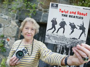 Fiona with the famous cover for The Beatles' Twist And Shout EP. (Picture by Adrian Miller, 28461415)