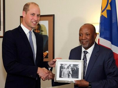 William meets Namibia's vice president as part of conservation trip