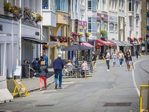 Picture by Sophie Rabey.  07-06-20.  Town Seafront is closed for the second Sunday in a row in order for restaurants to open Al Fresco, using the road for space to put out tables and chairs.  M & S was the only one taking up this opportunity.  Coronavirus Lockdown.. (28352606)