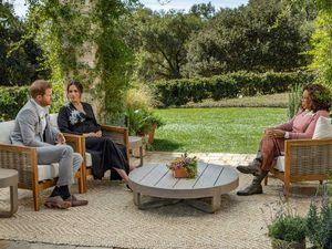 The Duke and Duchess of Sussex being interviewed by Oprah Winfrey.