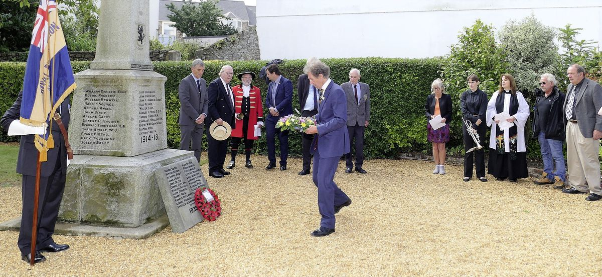States President William Tate laid a wreath at the Memorial Gardens in Victoria Street. (Picture by David Nash)